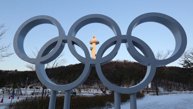 The Olympic rings are displayed at the Main Press Center for the 2018 Pyeongchang Winter Olympics in Pyeongchang, South Korea, on Jan. 23, 2018.