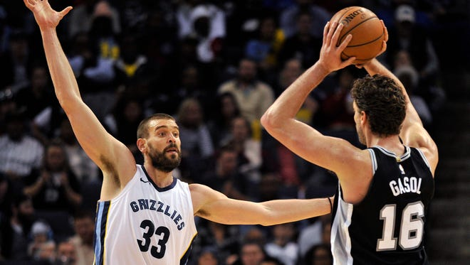 Memphis Grizzlies center Marc Gasol (33) defends against his brother, San Antonio Spurs center Pau Gasol (16), the second half of an NBA basketball game Friday, Dec. 1, 2017, in Memphis, Tenn. (AP Photo/Brandon Dill)