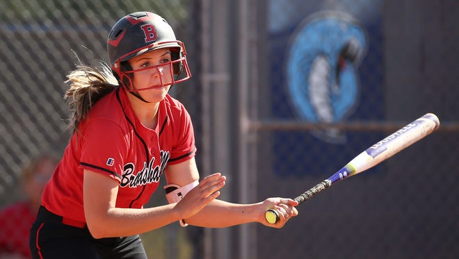 Bradshaw Mountain High School sophomore Madisen Duryea (3) grounds out in the 1st inning against Cactus High on Apr. 20, 2018 at Cactus High School in Glendale, Ariz.