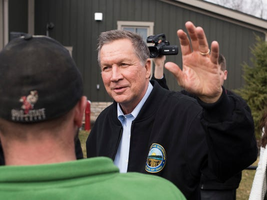 Presidential Candidate Gov. John Kasich Is Joined By Arnold Schwarzenegger At Rally In Columbus
