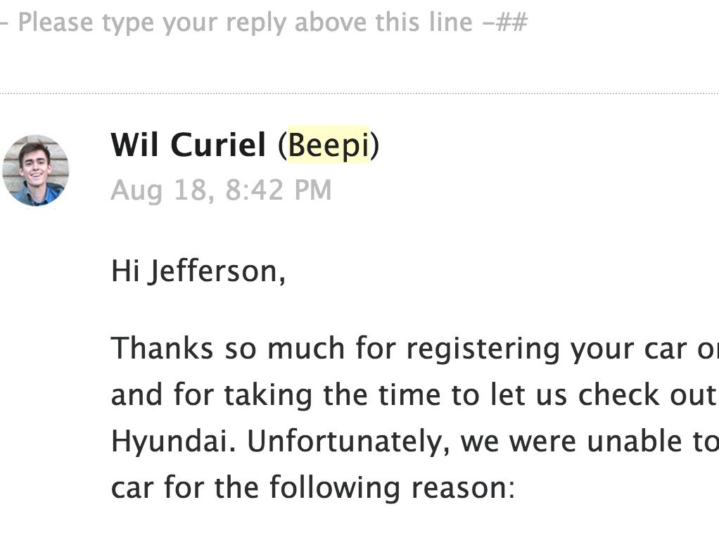 Beepi's rejection letter