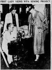 First Lady Eleanor Roosevelt visits the headquarters of the WPA sewing project in 1936.