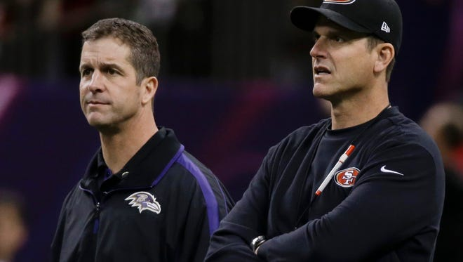 In this Feb. 3, 2013, file photo, San Francisco 49ers coach Jim Harbaugh, right, and Baltimore Ravens coach John Harbaugh watch practice before the NFL Super Bowl XLVII football game between their teams in New Orleans.