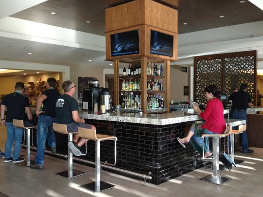 A square island bar center Mira at Double Tree by Hilton in Cathedral City.