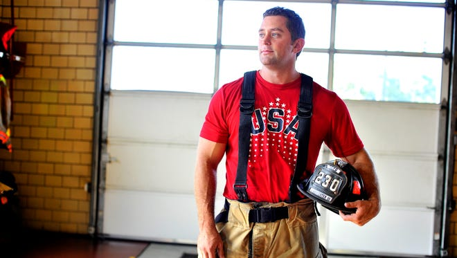Casey Wickline, shown posing for a portrait inside Greenville Fire Department Station 3 on Augusta Road, has been chosen for the US national bobsled team.