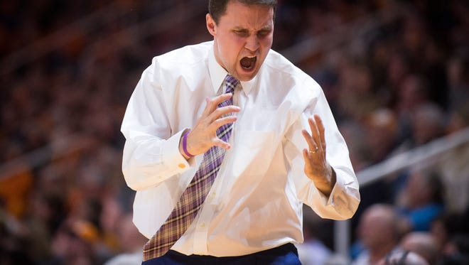 LSU head coach Will Wade reacts to a call during Tennessee's home basketball game against LSU at Thompson-Boling Arena on Wednesday, January 31, 2018.