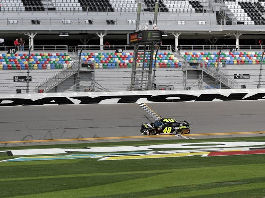 Jimmie Johnson (48) drives laps during a NASCAR auto racing practice session at Daytona International Speedway, Saturday, Feb. 10, 2018, in Daytona Beach, Fla. (AP Photo/John Raoux)