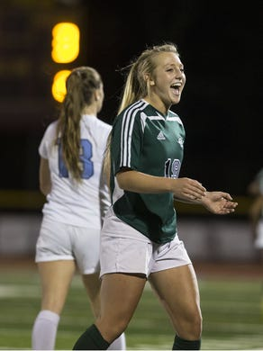 Colts Neck's Frankie Tagliaferri celebrates as the clock winds down in a victory over Freehold Township in SCT final.