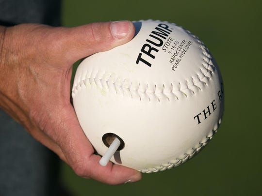 The ball used in beep baseball emits a loud beeping sound after it is hit. The batter must run to the base, which also beeps, before a fielder locates the ball.