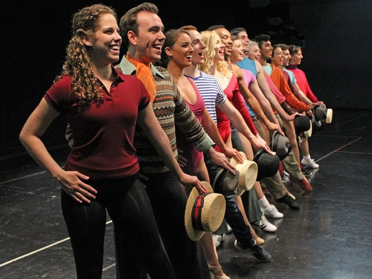 """Cast members of """"A Chorus Line"""" include, from left,"""