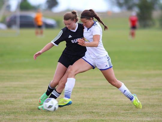 Rhyan Shultis, right, of the Montana Rush U-18 girls'