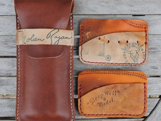 Wallets made from old sporting goods by Christian South-Alderson. The items will be for sale at Sunday Market.