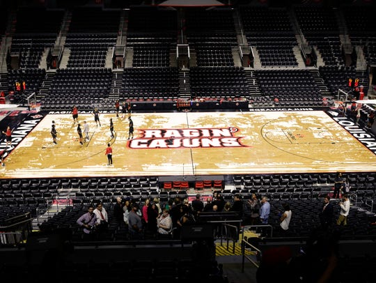 A straight-on top-level view of the new Cajundome court