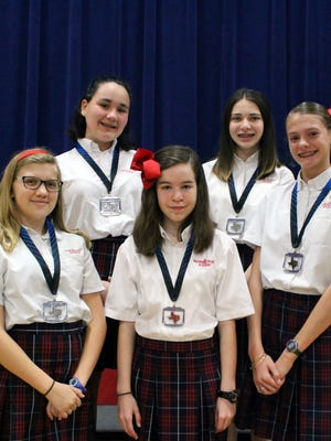 Several Incarnate Word Academy students participated in the Coastal Bend History Day Competition. Some students qualified for state. They include Rebeka Roberts (top row from left), Anna Kretsinger, Lauren Higdon (bottom row from left), Grace Leeson and Catherine Thomas.