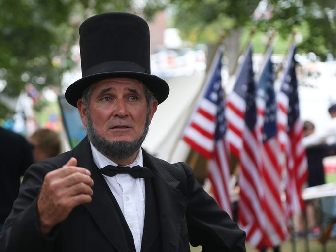 Lee Williams of Wiota presents Abraham Lincoln during Extreme Sunday at The Iowa State Fair Sunday, Aug. 17, 2014.