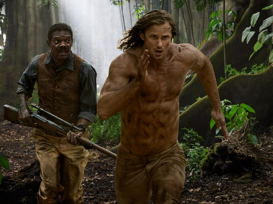 """""""The Legend of Tarzan"""" (July 1): After finding a place for himself in Victorian London, the lord of the jungle (Alexander Skarsgård, center, with Samuel L. Jackson) returns to his African childhood home."""