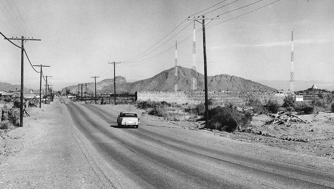 A view of the unpaved 48th Street looking North across the Salt River in 1955 near where it crosses the Salt River in Phoenix.