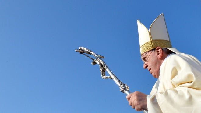 Pope Francis arrives at a  Canonization Mass this January. The Pope has reignited controversy over the canonization of Spanish monk Junípero Serra.