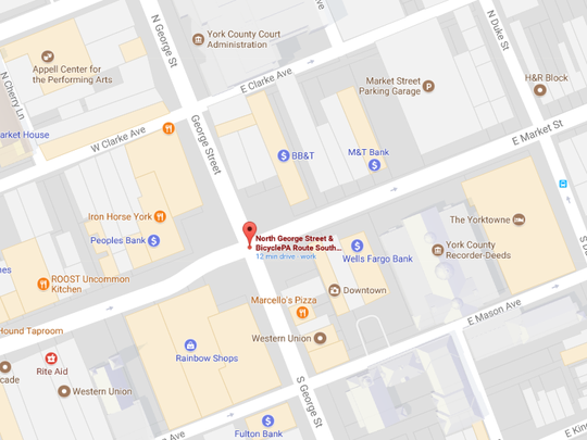 The location of the potential music venue at the corner of E. Market St. and N. George St.