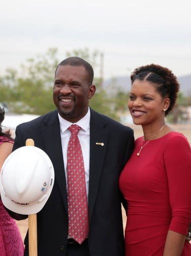 Maricopa County Regional School District Superintendent Ernest Rose and local dignitaries at the groundbreaking of the former campus of Hope College and Career Readiness Academy, a school for disconnected youth, which was built at South Mountain Community College.