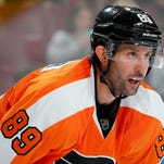 Sam Gagner is playing left wing on a line with Sean Couturier and Brayden Schenn.