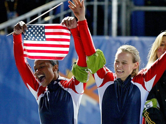 19 Feb 2002: USA 2, Jill Bakken and Vonetta Flowers, celebrate after winning the gold medal in the 2-woman bobsled during the Salt Lake City Winter Olympic Games at the Utah Olympic Park in Park City, Utah.