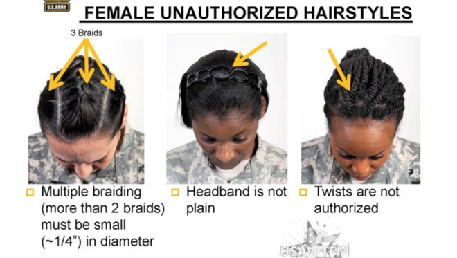 This PowerPoint slide shows some of the unauthorized hairstyles for women under newly clarified Army regulations.