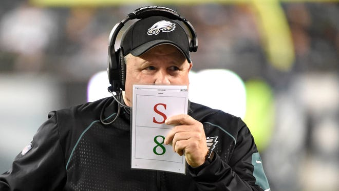 Philadelphia Eagles head coach Chip Kelly during the fourth quarter against the Washington Redskins at Lincoln Financial Field.