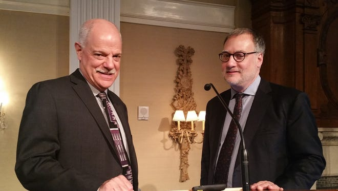 Kenneth C. Zaentz (left) is President and CEO of Alzheimer's NJ, an organization established in 1985, to help patients with Alzheimer's and their families through a variety of resources such as: support groups, community and care giver education programs, and a respite care and wellness program that teaches care givers about the value of getting a break for themselves. Dr. Hillel Grossman, M.D., was the keynote speaker at an education and research conference hosted by Alzheimer's NJ in late April in Somerset. The event, New Directions in Research and Care, is a dementia-specific education program for healthcare professionals in New Jersey.