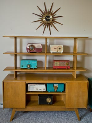 A mid-century modern credenza in the home of Gabby Elliott at their home in Lafayette.