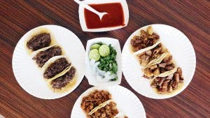 A trio of taco plates from Tacos Don Cuco at 115 S. Americas Ave. at Alameda.