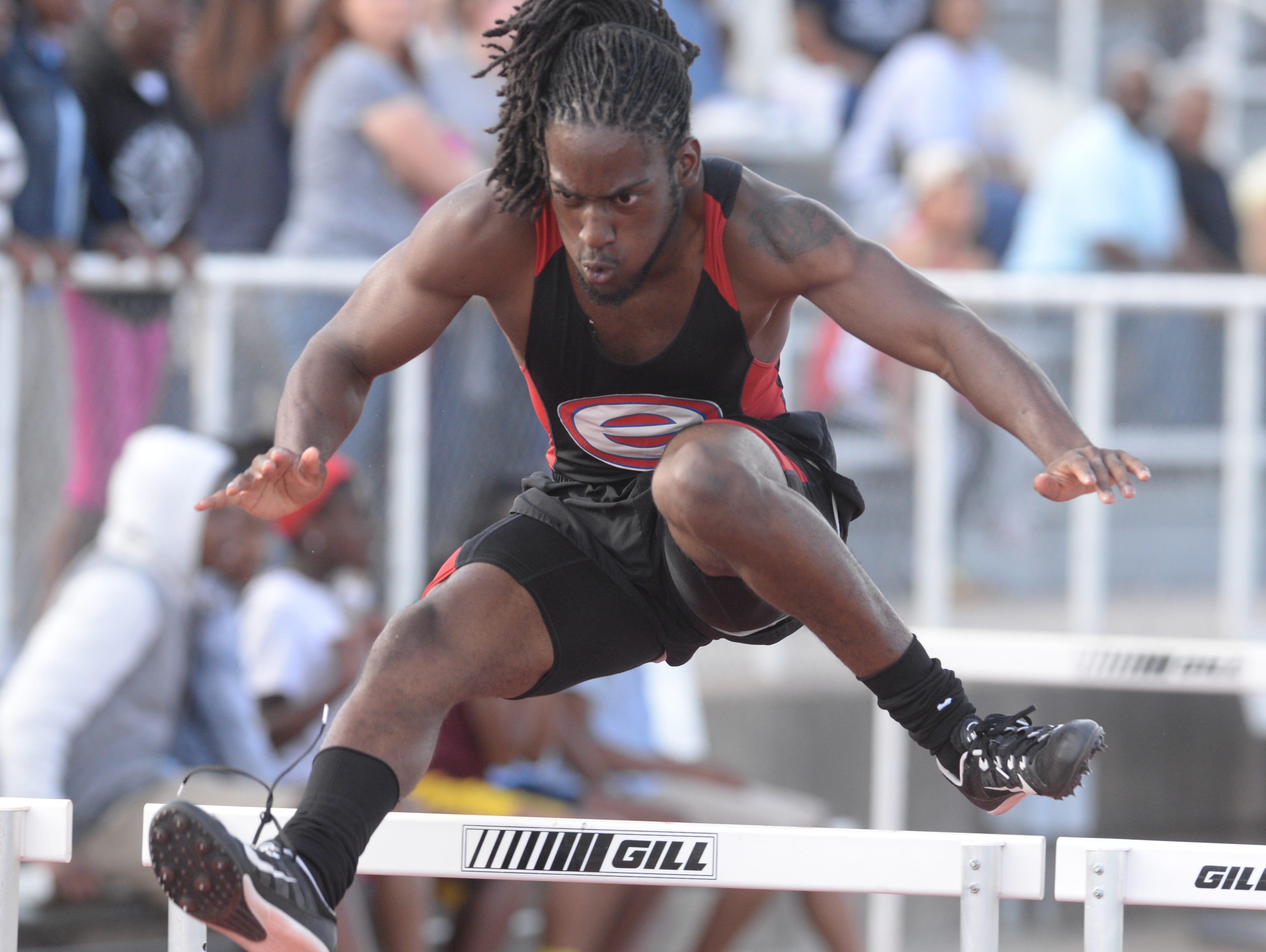 Evangel's Tyler Anderson clears the hurdle durimg his heat of the 110M hurdles at the Shreveport relays.
