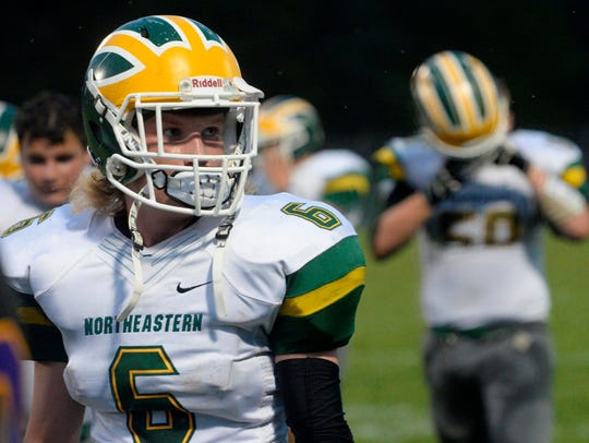 Griffin Bry (6) of the Northeastern High School football
