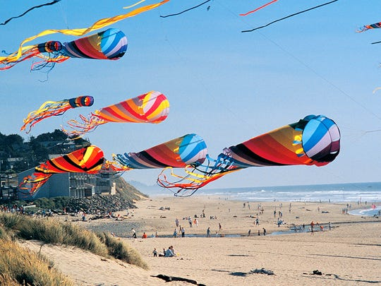 The D River State Recreation Site hosts an annual Summer Kite Festival.