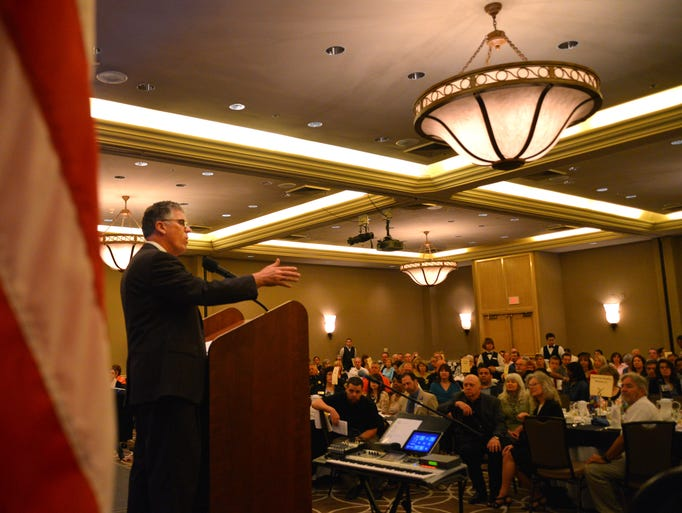 Thursday was the 63rd annual National Day of Prayer, with guest speaker David Barton speaking at the breakfast sponsored by the Power in the Workplace Ministries at the Rialto Hilton. After a video introduction by Cong. Bill Posey who is in Washington, former Cong. Dave Weldon introduced Barton.