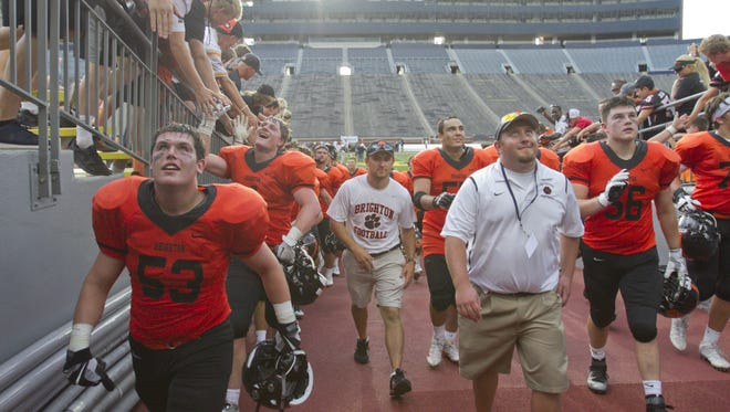 Brighton's football team, which beat Detroit East English Village in the 2016 opener at Michigan Stadium, will return to the Big House to open 2017 against Belleville.