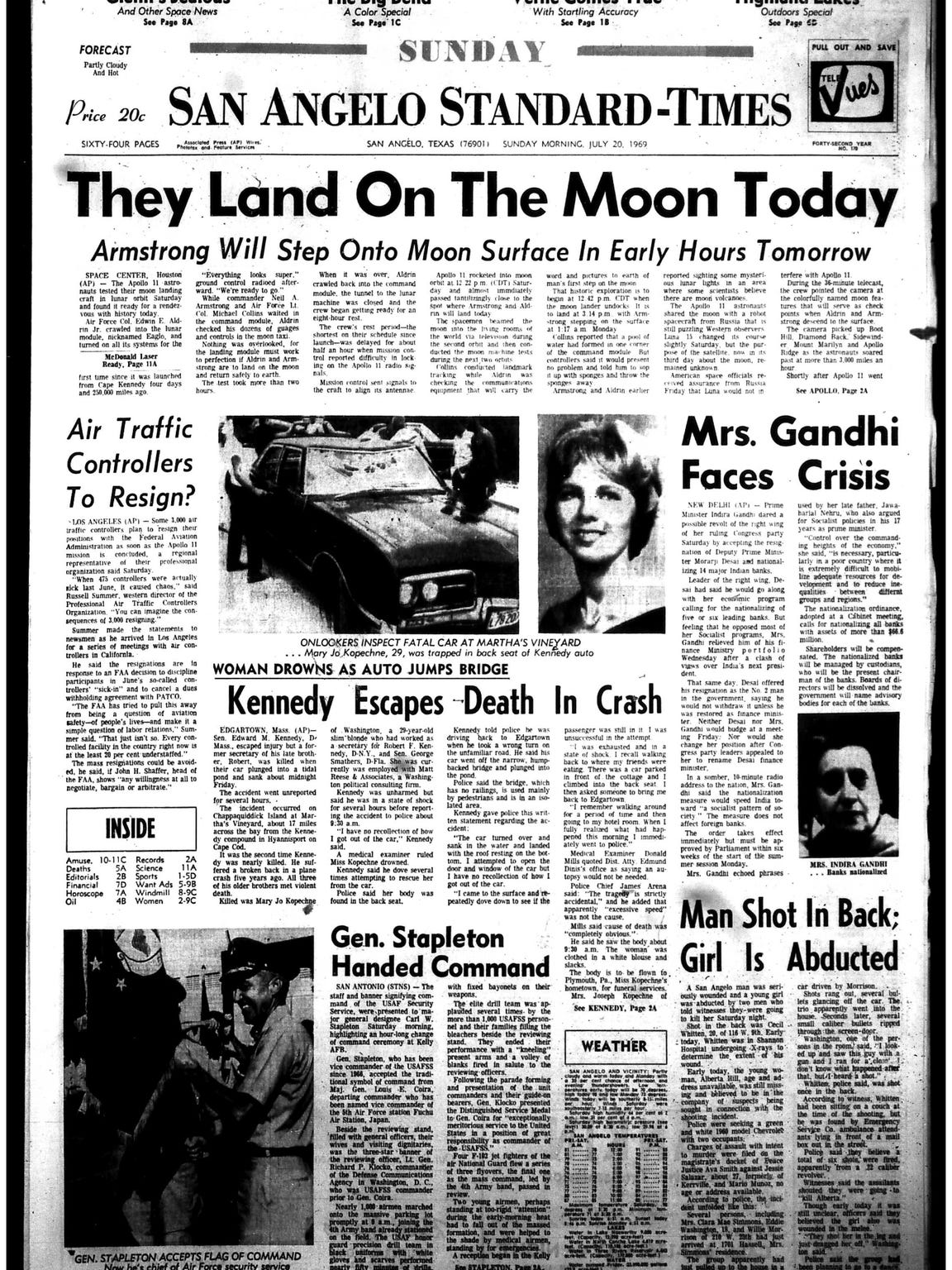 On Sunday, July 20, 1969, the Standard-Times announced the impending moon landing of Apollo 11.