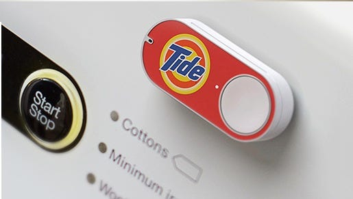 Amazon Dash is an electronic button that allows users to automatically order frequently used-up items from the online marketplace with the press of a button.