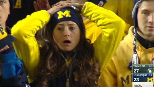 The image of Ann Arbor's Victoria Norris, captured on ESPN, went viral instantly across social media.