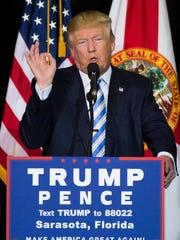 Republican candidate Donald Trump speaks at Robarts