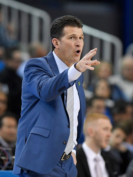 UCLA coach Steve Alford gestures during the first half of the team's NCAA college basketball game against California, Thursday, Jan. 25, 2018, in Los Angeles. (AP Photo/Mark J. Terrill)