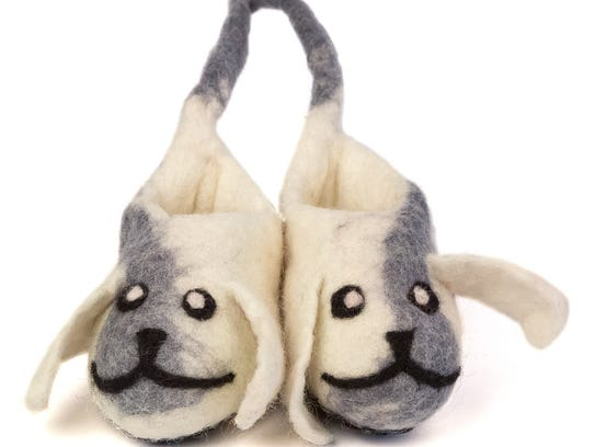 Wool felt doggy slippers for kids. $32 at Well Done