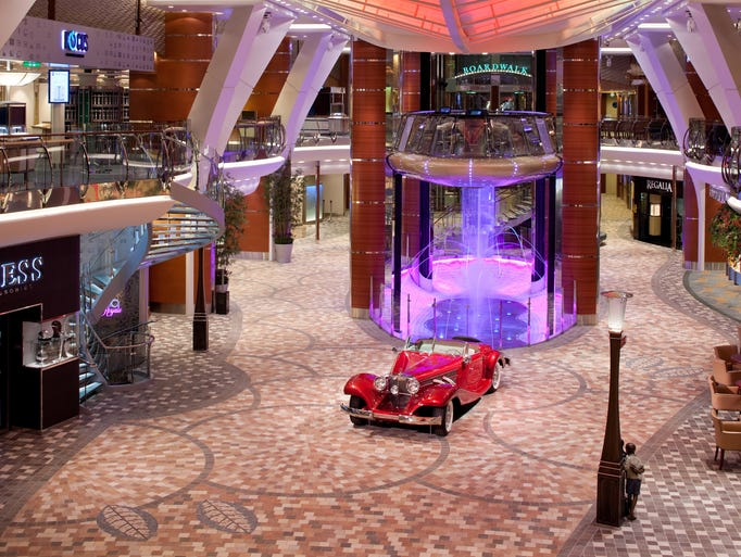 The Royal Promenade aboard Royal Caribbean's Allure of the seas is a veritable shopper's mecca, filled with designer brands.