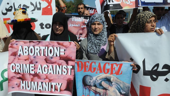 Moroccans hold a demonstration against abortion in 2012.