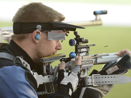 Matt Emmons of Pemberton competes in the men's 50m rifle 3 position.