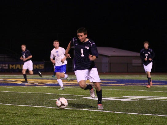Greencastle-Antrim's Jared Rohrbaugh dribbles the ball