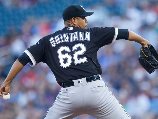 Chicago White Sox pitcher Jose Quintana throws to a Minnesota Twins batter during the first inning of a baseball game Friday, July 29, 2016, in Minneapolis. (AP Photo/Jim Mone)