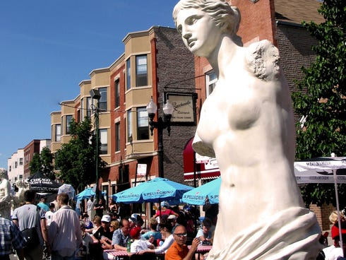 While there are several Italian-American communities within Chicago city limits, Taylor Street, on the city's West Side,  has earned the reputation of being the city's official Little Italy. The mile-long street is lined with parks, fountains, restau