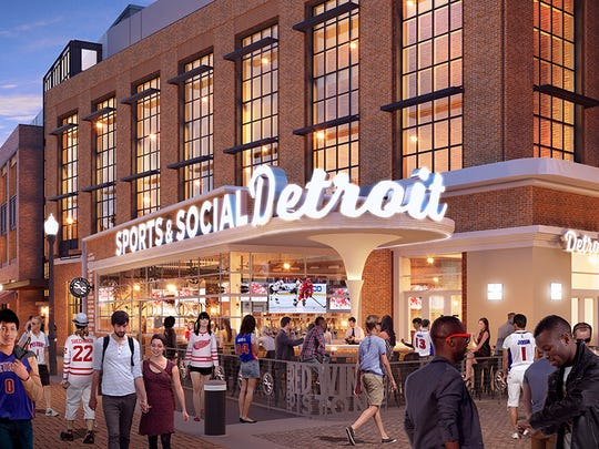 A rendering of Sports & Social Detroit, expected to open at Little Caesars Arena when it debuts in September 2017.