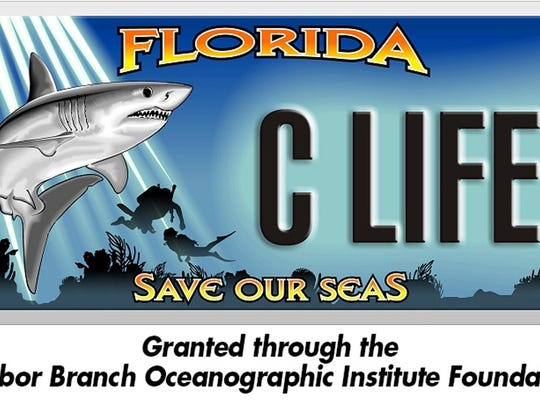 The purchase of a specialty license plate will help fund Harbor Branch Oceanographic Institute Foundation research programs.